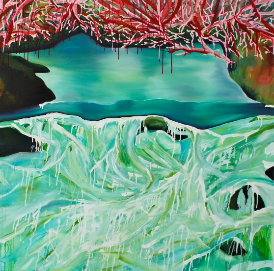 """Moon Green Pool"", Oil on Canvas, 150x150cm"